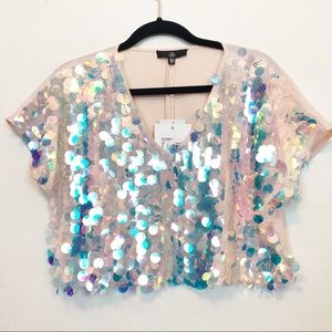 MISSGUIDED | Pink Sequin Crop Top | NWT | Size M